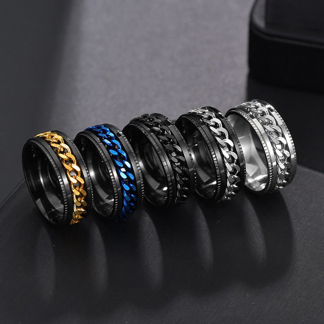 Letdiffery Cool Stainless Steel Rotatable Men Ring High Quality Spinner Chain Punk Women Jewelry for Party Gift 3