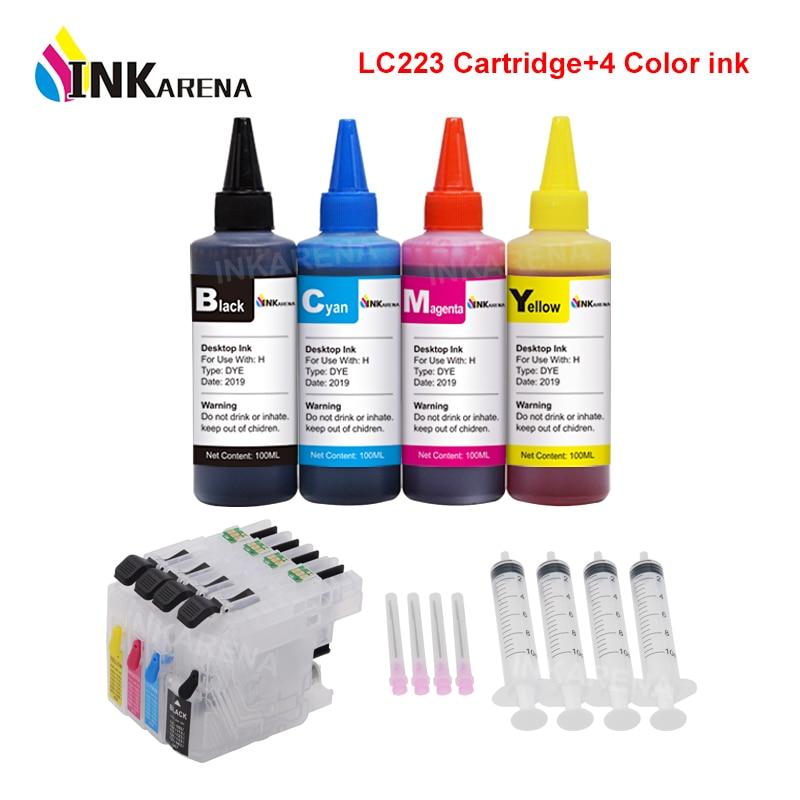 INKARENA LC 223 XL Printer Ink Cartridge For Brother LC221 LC225 LC227 LC229 + 400ml Bottle Ink MFC J5720DW J480DW J680DW J880DW