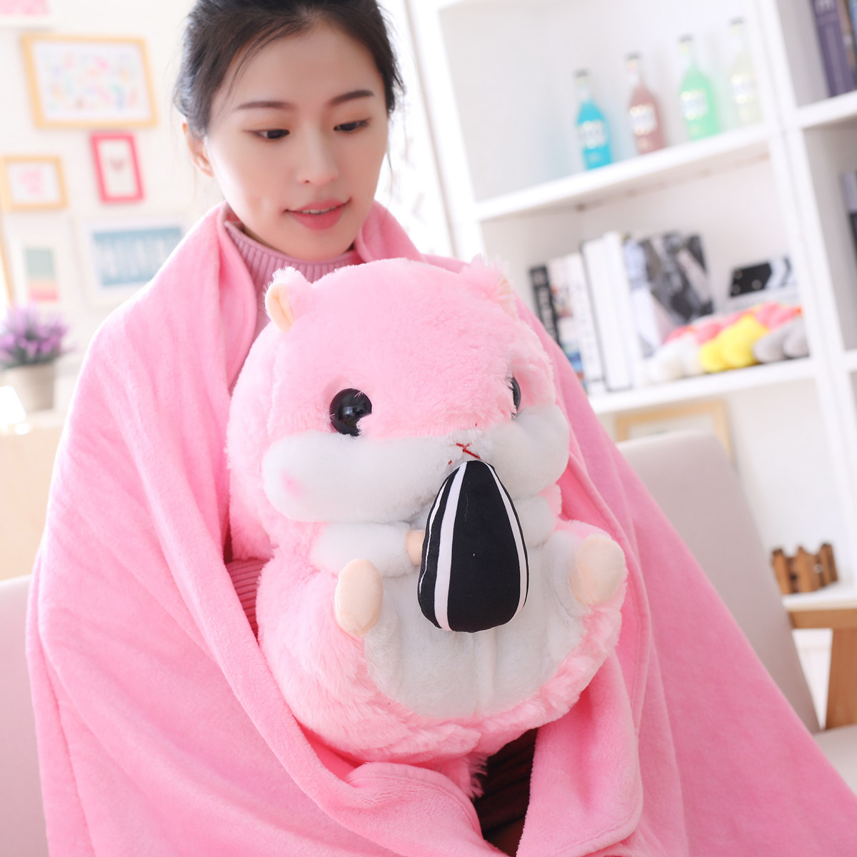 Dropshipping Peluches Hamster Plush Animal Soft Toy Hamster Blanket Pillow 3 In 1 Set For Kids