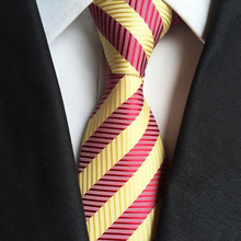 Fashion Mens Wedding Accessories Classic 8cm Ties For Man Silk Striped Red Yellow Cravat Casual Slim Necktie Party Neck Tie Gift