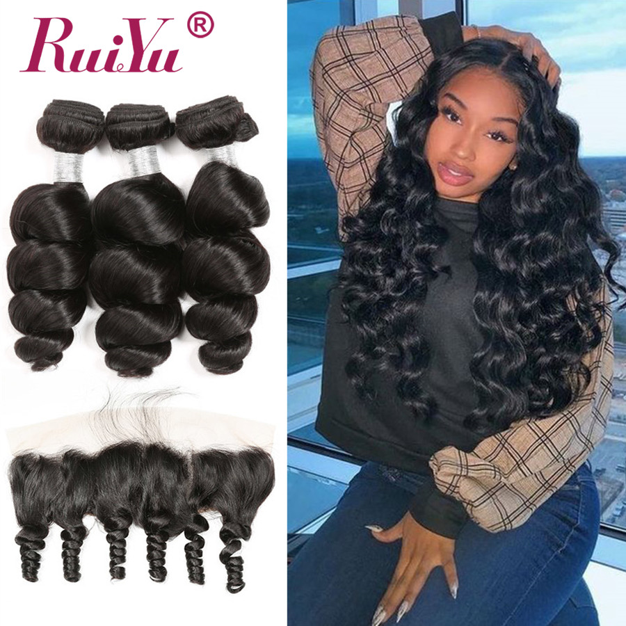 Peruvian Loose Wave Hair 3 Bundles With Closure Frontal Natural Color RUIYU Human Hair Extensions Remy Hair Bundles With Frontal