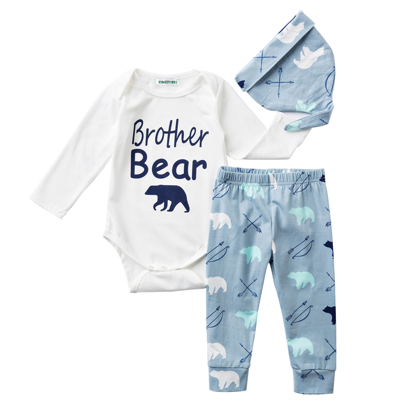 LZH Newborn Clothes 2019 Autumn Winter Baby Boys Clothes Set Rompers+Pants+Hat 3pcs Baby Boys Girls Outfit Suit Infant Clothing
