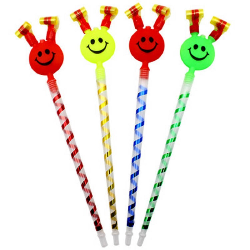 3pcs/lot Whistle Trumpet Funny Nice Children Birthday Party Supplies Cheerleading Gifts Big Smile Long Pole Blow Roll Cheer Prop
