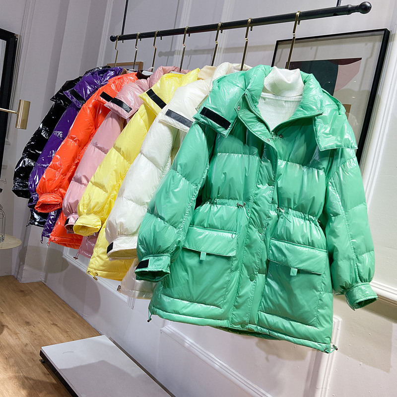 2020 New Winter Glossy Down Parka Thick Women Waterproof Hood Coat White Duck Down Jacket Loose Winter Warm Snow Shiny Overcoat
