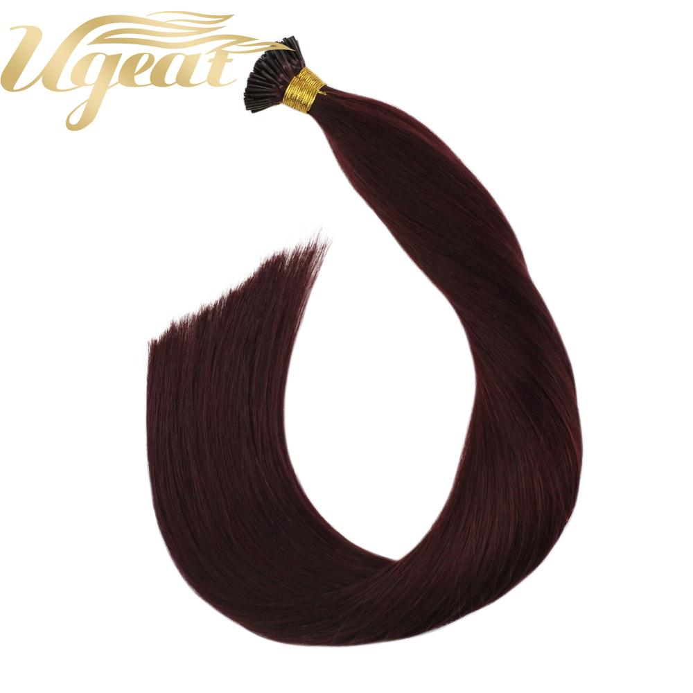 Ugeat I Tip Hair Extensions Red Wine 99J Human Hair Weight Straight Machine Remy 14-24inch 40G/80G Pre Bonded Hair Extensions