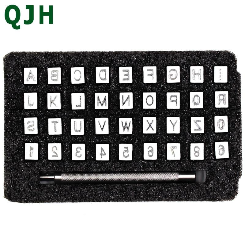 36 pçs/set Batedor Stamp Letra Do Alfabeto Número Aço Soco Couro 3mm/6mm Carta De Metal Ferramenta de Perfuração de Couro