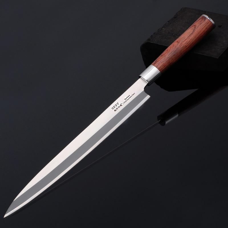 Venstre hånd japansk Sashimi Yanagiba kjøkkenkniv tysk stål laks fisk filet cleaver kutter skiver koker kniver 9G