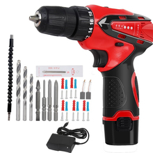 Anjieshun 12V Electric Drill Lithium Battery Cordless Electric Hand Drill Power Rechargeable Tools Screwdriver Power Driver 10mm drill driver rechargeable sturm cd3212l