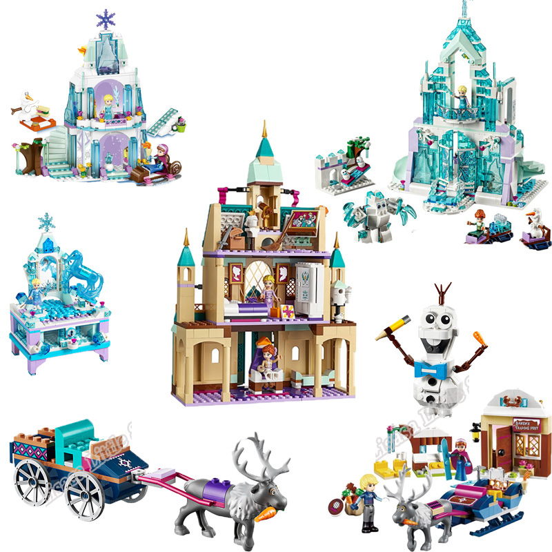 2019 ElsaAnna  Arendelle Castle Village 41167 Cinderella Ice Castle Building Blocks Bricks Princess Legoinglys Girl Friends Toy