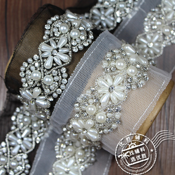 6Yards Pearl Beaded Lace Trims Flower Mesh Fabric Rhinestone Lace Ribbon Tape Weding Dress Collar Lace Applique Hair Accessories
