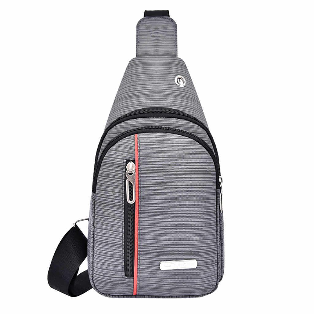 Pria Bahu Bag Dada Pack Kain Oxford Olahraga Luar Ruangan Multi Fungsi Tas Selempang Pria Tas Dada Sabuk Pinggang paket