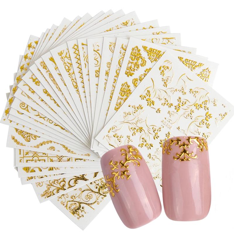 20pcs 3D Beauty Nail Sticker Sets Golden Flower Bronzing Design Manicure DIY Adhesive Tips Transfer Art Hollow Foils TRAD301-326