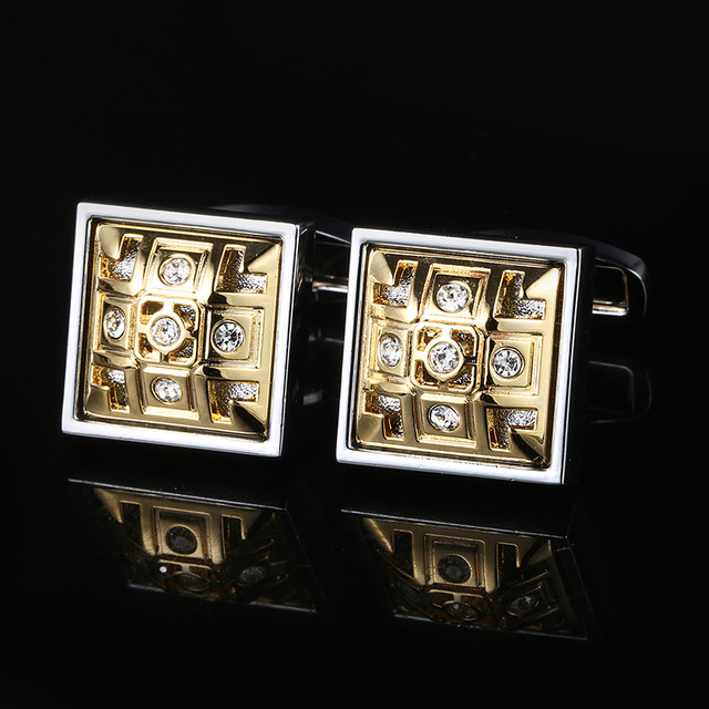 Cufflinks Men's Business Banquet Wedding Daily Leisure Suit Accessories Gifts Gold Square Pattern French Shirt Cuff Links Trendy 4