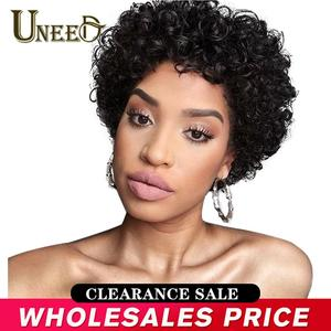 Uneed Short Curly Bob Wig Brazilian Curly Human Hair Wigs For Women Natural Black Non Remy Hair 130% Density Jerry Curl Wigs(China)