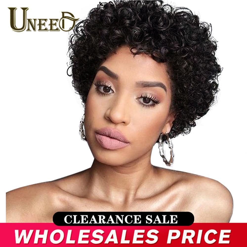 Uneed curto encaracolado bob peruca brasileira encaracolado perucas de cabelo humano para as mulheres preto natural não remy do cabelo 130% densidade jerry onda perucas