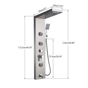 Image 5 - 닦 았된 니켈 샤워 패널 샤워 열 벽 마운트 비 폭포 샤워 꼭지 타워 단일 핸들 믹서 꼭지