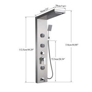 Image 5 - Brushed Nickel Shower Panel Shower Column Wall Mounted Rain Waterfall Shower Faucet Tower Single Handle Mixer Faucet