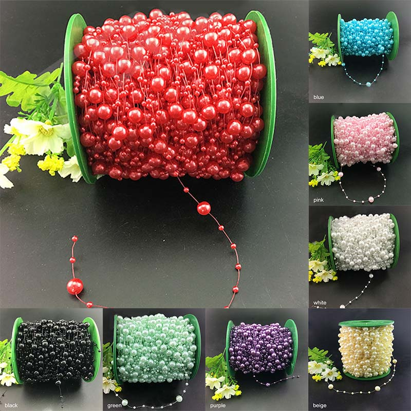 Wedding Decoration Bridal Tiara Fishing Line Multifunction Artificial Pearls 5M Event Party Supplies Beads Chain Garland Flowers image