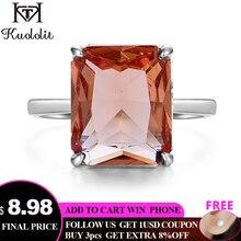 Kuololit anillos de piedras preciosas de sultanita para mujer, Sortija de plata de ley 925 auténtica, corte de Esmeralda, compromiso, joyería fina