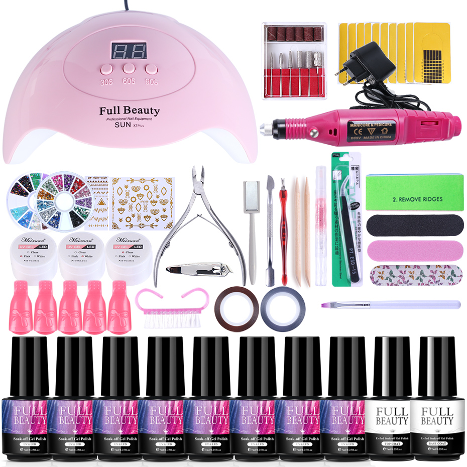 Nail Set For Manicure Kit UV Led Lamp With Electric Drill Machine Nail Gel Polish Varnish Pedicure Nail Extension Tools TR1581