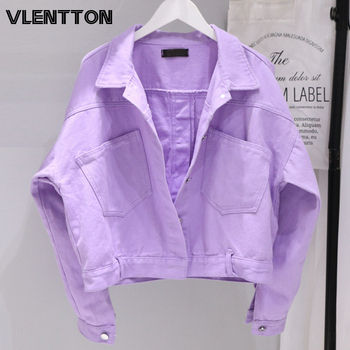 2020 Spring Autumn Women Oversize Purple Jeans Jackets Solid Pockets Casual Loose Short Denim Coat Female Korean Cowboy Tops