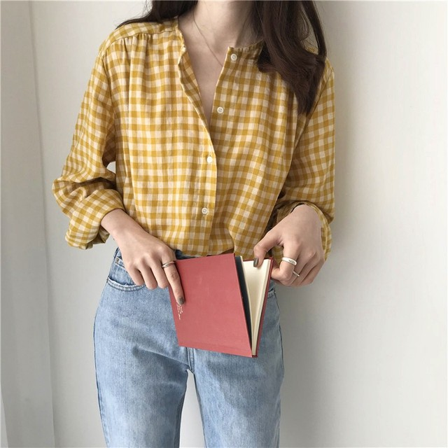 Simple Women Spring Summer Blouse Shirts Plaid Fashionable Single Breasted Casual Loose Wild Sweet Pink Tops 2