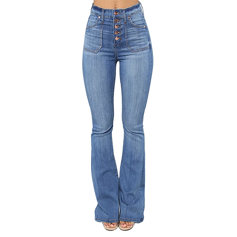 Adisputent 2020 Women Vintage High Waist Stretchy Multi Button Fit Flare Jeans Ladies Casual Washed Denim Trousers Size XS-XXL