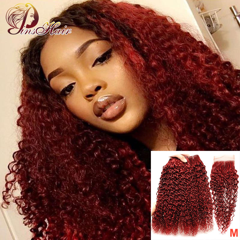 Kinky Curly 3 Bundles With Closure 99J Pre-Colored Brazilian Human Hair Bundles With Closure Pinshair Non-remy With Baby Hair