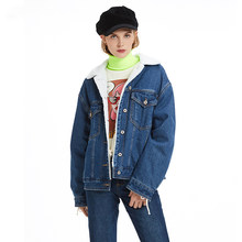 2019 Winter New Denim Jacket Female Thick Plus Cotton Warm Loose Fashion Casual Wool Cake Long Sleeve Denim Women's Outerwear(China)