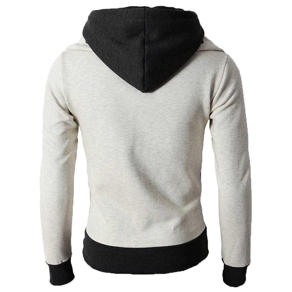 แจ็คเก็ตฤดูหนาวชายขนาด Coats แจ็คเก็ตผู้ชายปลอม 2 ชิ้นสีบล็อกเสื้อแจ็คเก็ตแขนยาว Zip Mens เสื้อแจ็คเก็ต