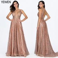 Decollete Pocket Luxury Bling Gold Deep V Sexy Evening Dresses 2020 Backless Prom Formal Dress Women Elegant Evening Gowns Long