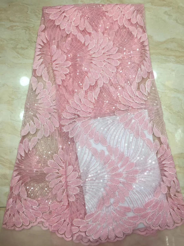 2019 dernier tissu de dentelle de paillettes brodées, tissu de dentelle élastique Net de Tulle africain de haute qualité avec des paillettes de mariage