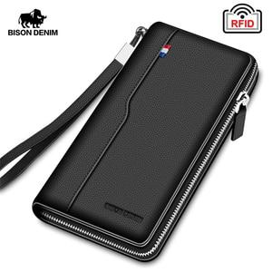 BISON DENIM Genuine leather RFID Blocking Wallet Zipper Coin Pocket Long Purse Passport Cover For Men Card Holder Purse W8226(China)