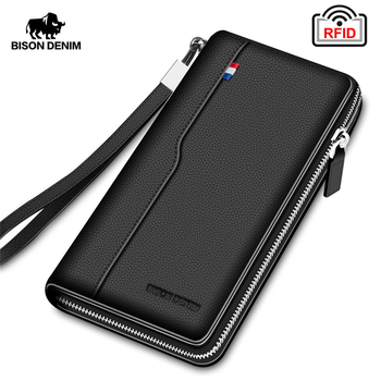 BISON DENIM Genuine leather RFID Blocking Wallet Zipper Coin Pocket Long Purse Passport Cover For Men Card Holder Purse W8226