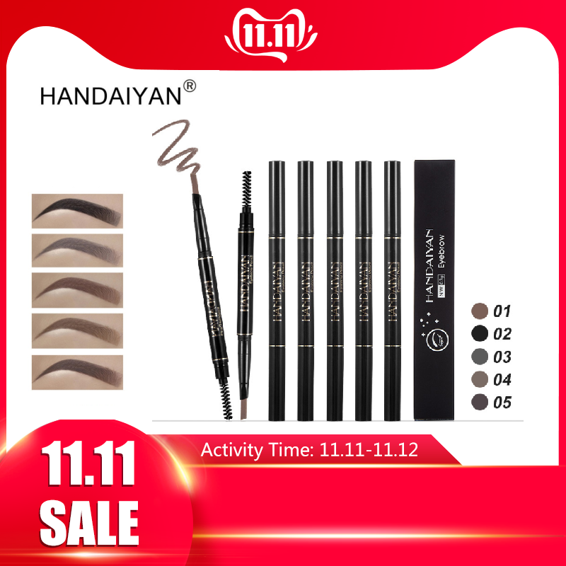 HANDAIYAN 5 Color Double Ended <font><b>Eyebrow</b></font> Pencil With Brush <font><b>Waterproof</b></font> Long Lasting Rotatable Triangle <font><b>Eye</b></font> Brow Tattoo <font><b>Pen</b></font> TSLM2 image