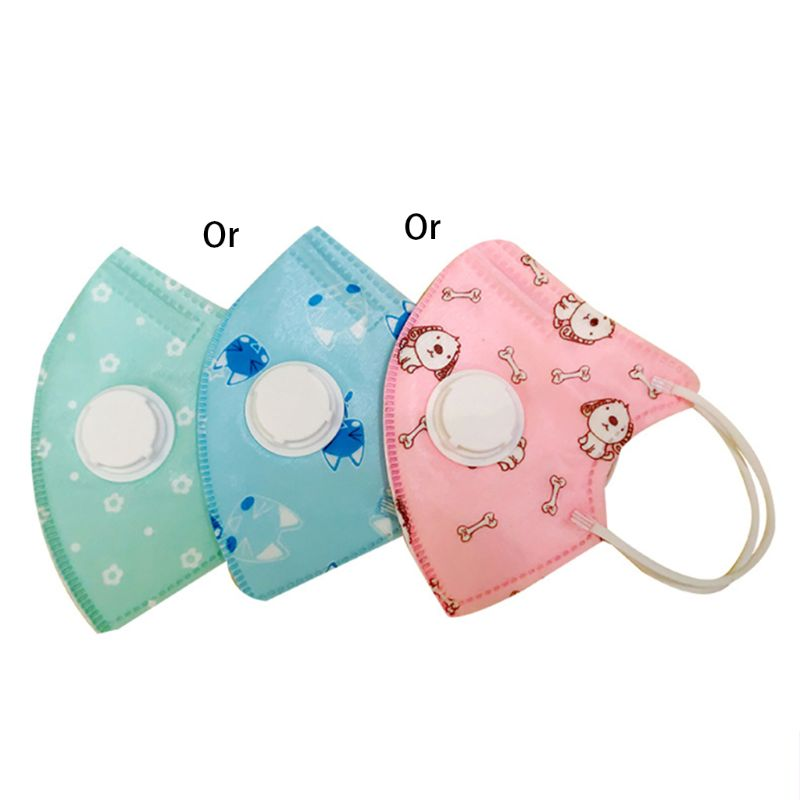 1Pc Kids Protective Dustproof Mouth Mask With Breathable Valves 5 Layers Respirator Random Color