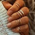 Модный золотой цвет смешанный кольца для суставов палец набор для женщин винтажное очаровательное кольцо на палец женские ювелирные издел...