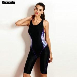 Image 3 - Riseado Sport 2019 Swimwear Women One Piece Swimsuit Swimming Suit for Women Boyleg Swim Wear Racer Back Bathing Suits