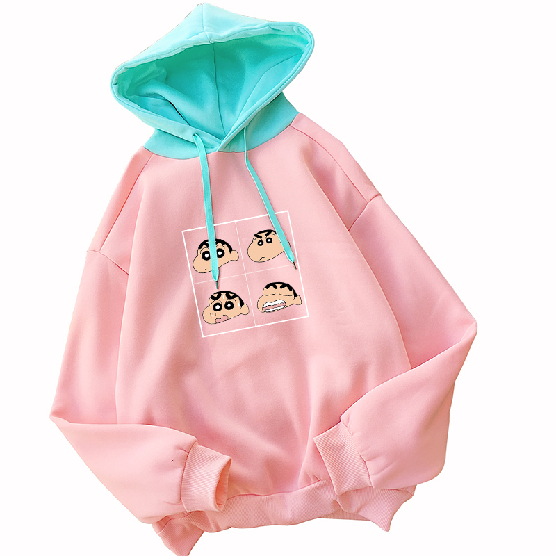 Harajuku Japanese Anime Crayon Shin Chan Hoodies Women Hit Color Kawaii Cartoon Print Hooded Streetwear Casual Thick Sweatshirts