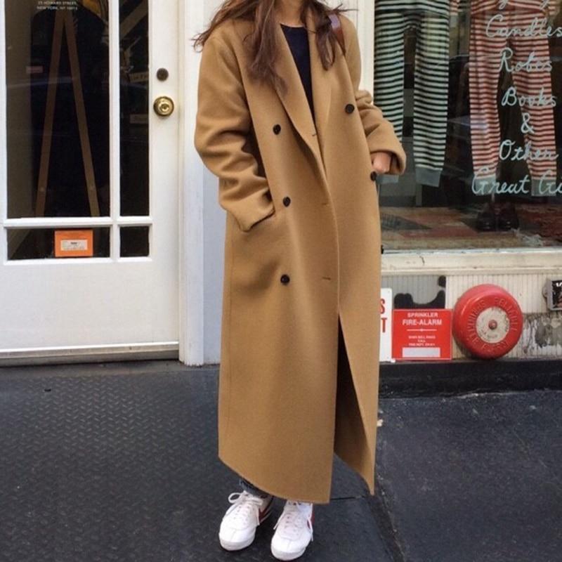 Double Breasted Long Wool Coat Women Loose Long Sleeve Lady Cardigan Overcoat High Street Fashion Outwear With Belt Winter 2020