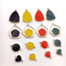 2pcs korean alloy drop oil clover love irregular shape earrings for women material fashion diy handmade jewelry accessories