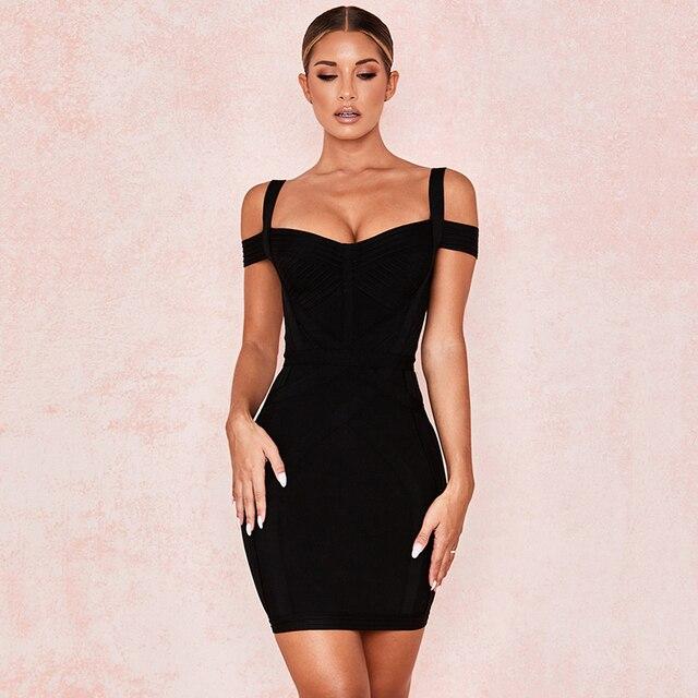 2020 automne nouveau femmes mode Sexy couleur unie noir Mini robe de pansement moulante Club robe de soirée Vestidos