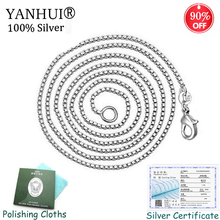 Have Certificate! Classic Basic Box Chain Necklace Original 925 Solid Silver Lobster Clasp Wedding Fine Jewelry N809