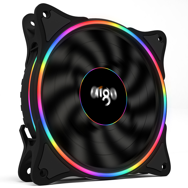 Aigo V1 Radiator Cooler 120mm Case Fan Cooling LED For PC Fan 12V Cooling Fan Double Ring Quietly cooler cooling Computer fan(China)