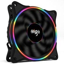 Aigo V1 ventilateur de refroidissement pour boîtier PC, 120MM, ventilateur de refroidissement LED 12V, 3 broches, Halo arc en ciel, silencieux, ventilateurs dordinateur