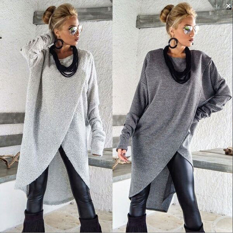 Women Long Sleeve Sweater Ladies Casual Loose Solid O-Neck Jumper Pullover Tops Regular Size Autumn Winter Clothes Cotton Blend
