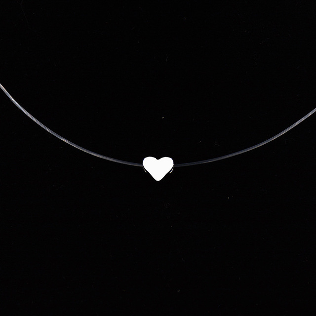 Hot Female Transparent Fishing Line Necklace Silver Color Invisible Chain Necklace For Women Rhinestone Choker Necklace Collier Accessories Jewellery & Watches Women's Fashion