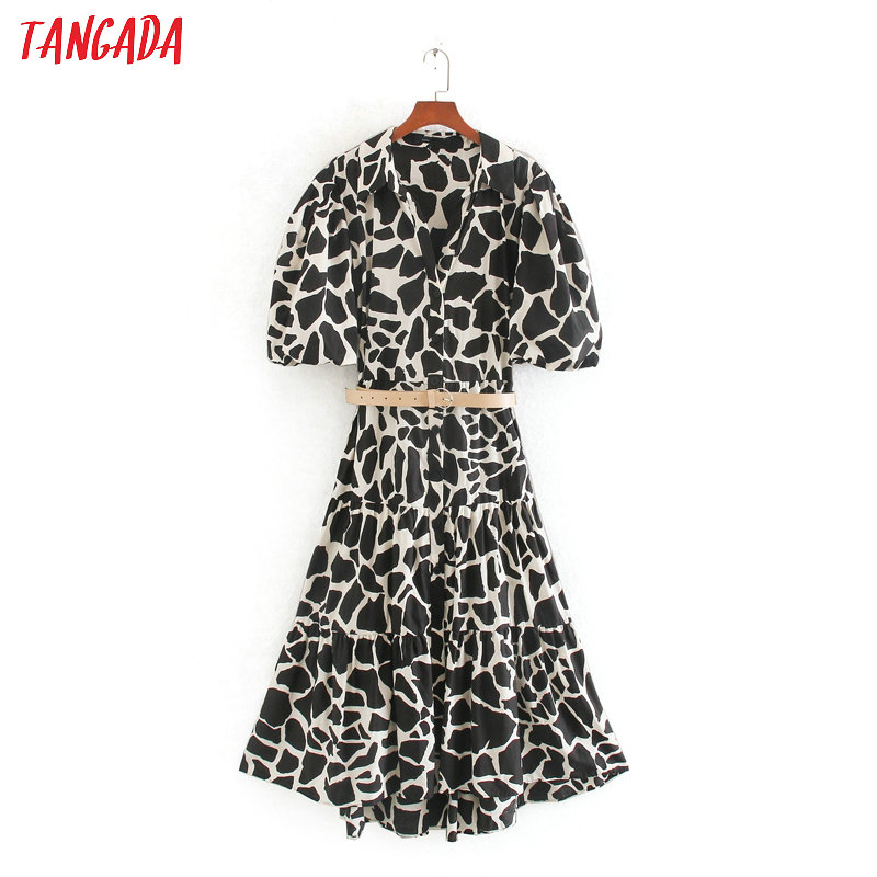 Tangada Fashion Women Animal Print Mini Dress With Belt Puff Short Sleeve Ladies Vintage Short Dress Vestidos CE255