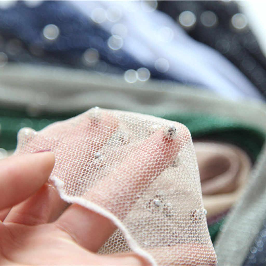 2019 medias mujeres, lencería red de pesca volante de tobillo de encaje de malla red de pescado de plata brillante corto Calcetines, medias de mujer Transparente