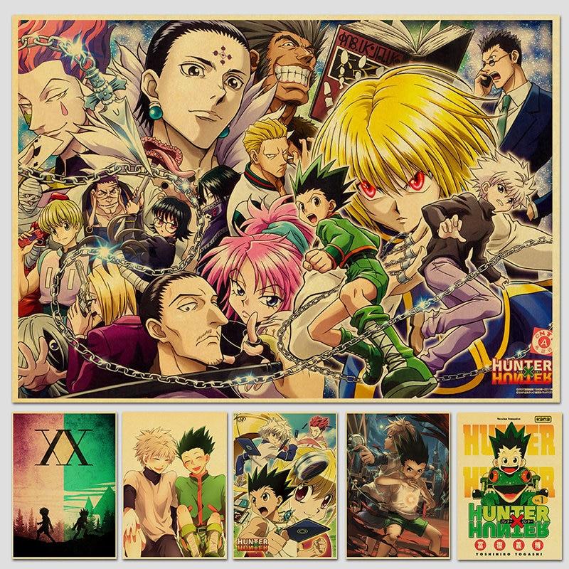 Hunter x Hunter Poster Classic Japanese Anime Retro Poster Kraft Paper Prints Wall Art Home Room Decor Vintage Painting
